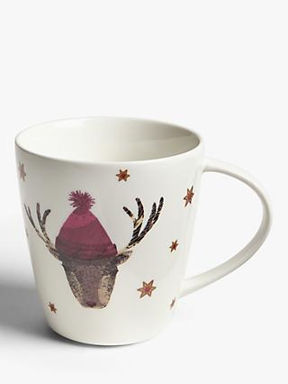 John Lewis & Partners Reindeer Mug, 400ml, White/Multi