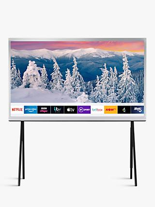 "Samsung The Serif (2019) QLED HDR 4K Ultra HD Smart TV, 55"" with TVPlus, Apple TV App & Bouroullec Brothers Design, White"