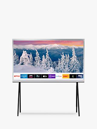 "Samsung The Serif (2019) QLED HDR 4K Ultra HD Smart TV, 43"" with TVPlus, Apple TV App & Bouroullec Brothers Design, White"