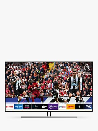"Samsung QE55Q85R (2019) QLED HDR 1500 4K Ultra HD Smart TV, 55"" with TVPlus/Freesat HD & Apple TV App, Carbon Silver"