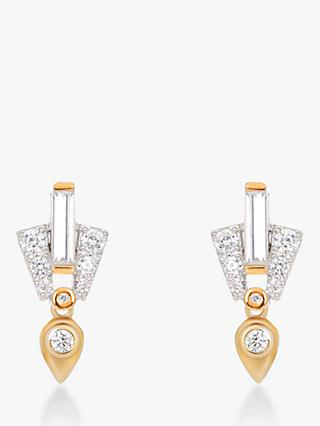 V by Laura Vann Aida Cubic Zirconia Abstract Drop Earrings, Silver/Gold