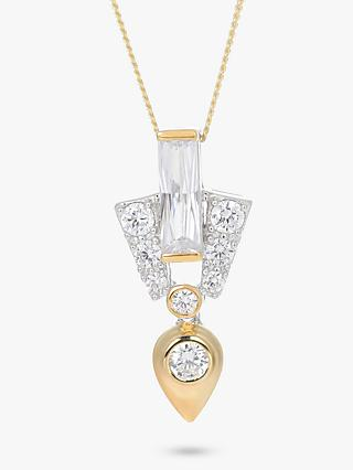 V by Laura Vann Aida Cubic Zirconia Abstract Pendant Necklace, Silver/Gold
