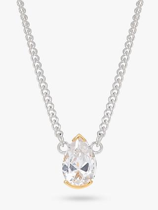 V by Laura Vann Evelyn Short Pear Cubic Zirconia Pendant Necklace, Silver/Gold
