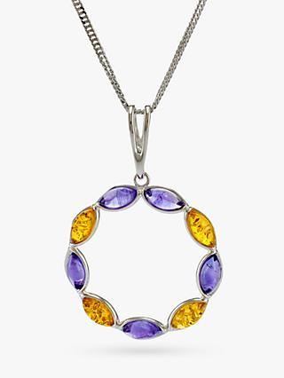 Be-Jewelled Baltic Amber and Amethyst Pendant Necklace, Multi