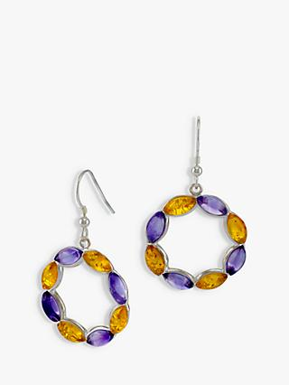 Be-Jewelled Amethyst and Amber Circle Drop Earrings, Silver/Multi