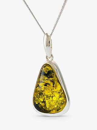 Be-Jewelled Amber Pendant Necklace, Silver/Green