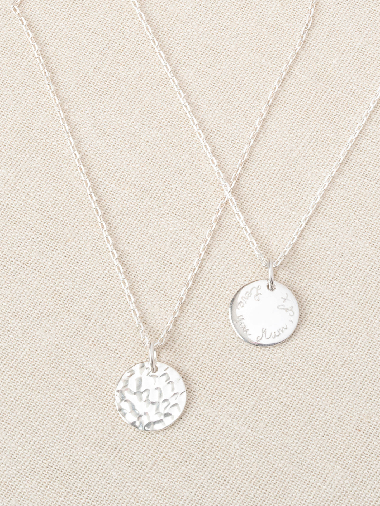Buy Merci Maman Personalised Small Hammered Pendant Necklace, Silver Online at johnlewis.com