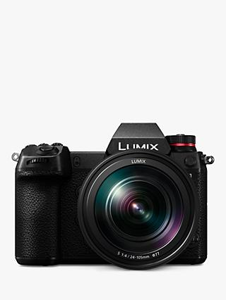 "Panasonic Lumix DC-S1 Compact System Camera with 24-105mm OIS Lens, 4K UHD, 24.2MP, Wi-Fi, Bluetooth, OLED EVF, 3.2"" Tiltable Touch Screen, Black"