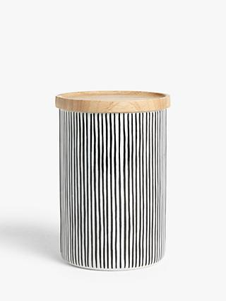 House by John Lewis Ceramic Storage Jar & Rubber Wood Lid, 700ml, Black/White