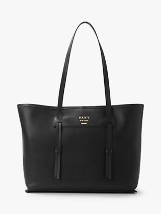 DKNY Warren East West Leather Tote Bag, Black/Gold