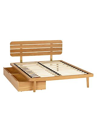 House by John Lewis Bow Slatted Headboard Bed Frame, Double, with Underbed Storage, Oak