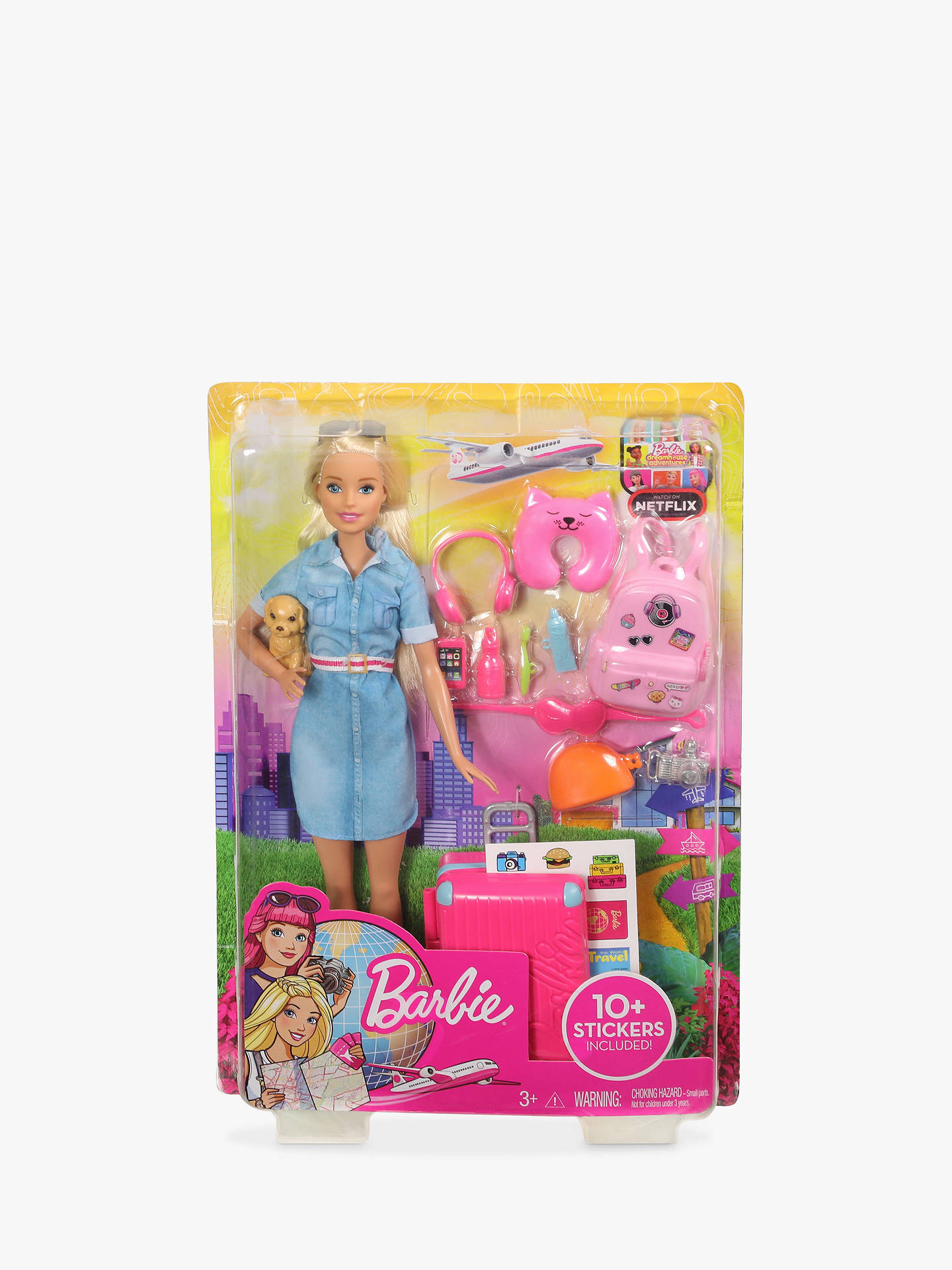 BARBIE DOLL ACCESSORY BLUE LUGGAGE ON WHEELS W// HANDLE