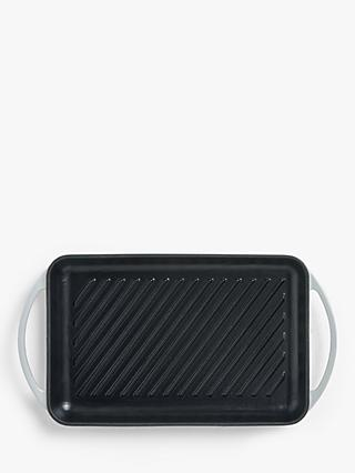 John Lewis & Partners Cast Iron Rectangular Grill Pan, 33cm