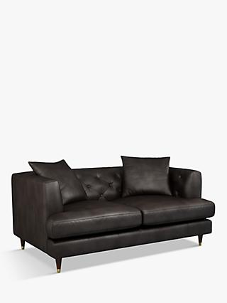 John Lewis & Partners Chester Medium 2 Seater Leather Sofa, Dark Leg