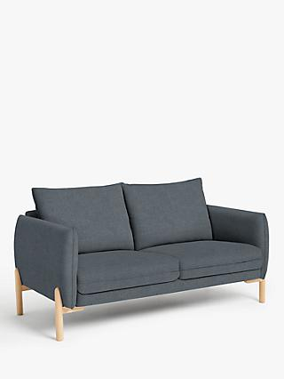 John Lewis & Partners Pillow Small 2 Seater Sofa, Light Leg, Hatton Steel