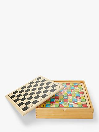 John Lewis & Partners Wooden 6-in-1 Games Compendium