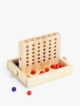 John Lewis & Partners Wooden Four In A Row Travel Game