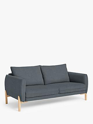 Pillow Range, John Lewis & Partners Pillow Large 3 Seater Sofa, Light Leg, Hatton Steel