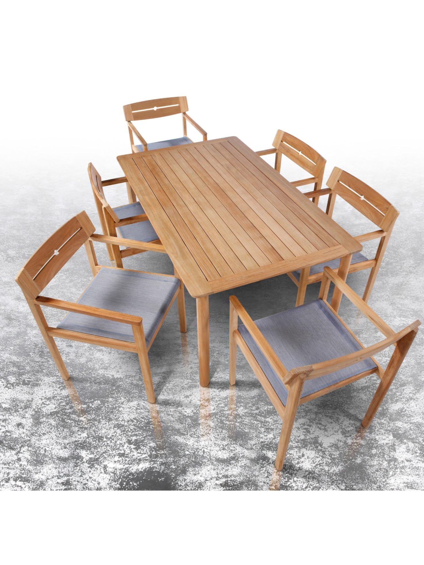 Barlow Tyrie Atom 9 Seat Teak Wood Garden Dining Table & Chairs Set,  Natural/Denim