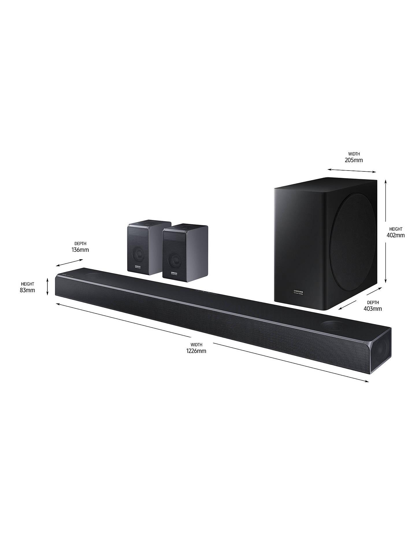 Samsung harman/kardon HW-Q90R Bluetooth Wi-Fi Cinematic Sound Bar with  Dolby Atmos, Wireless Subwoofer & Rear Surround Speakers