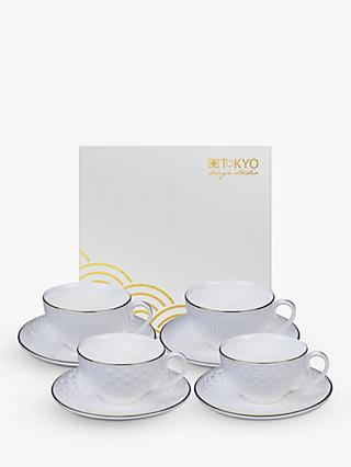 Tokyo Design Studio Nippon White Cup & Saucer, Set of 4, 250ml, White/Gold