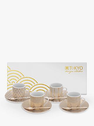 Tokyo Design Studio Nippon White Espresso Cup & Saucer, Set of 4, 80ml, White/Gold