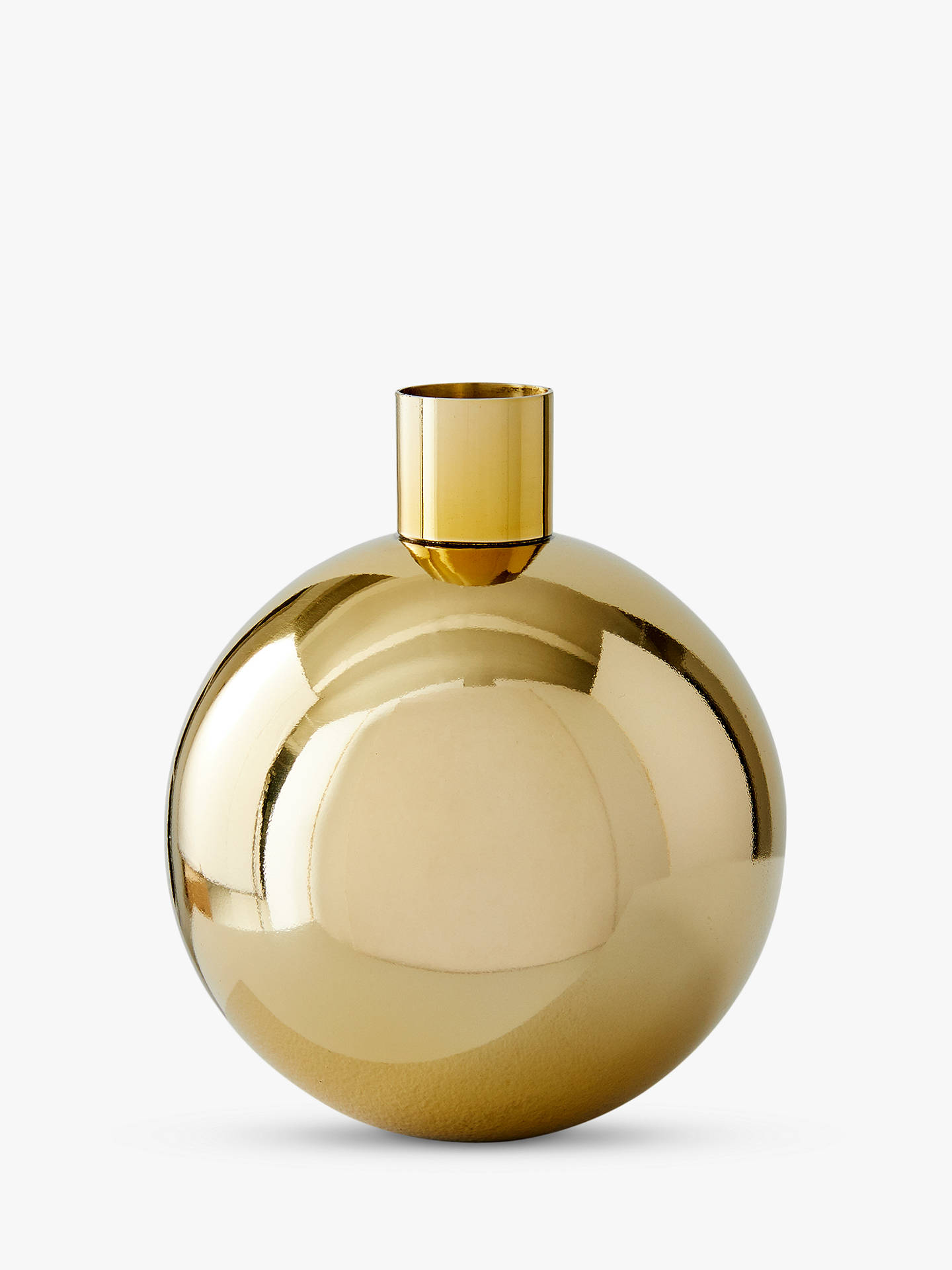 West Elm Foundations Round Small Bud Vase, Brass, H15cm by West Elm