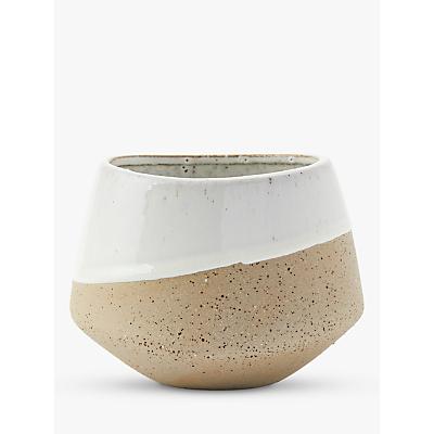 west elm Half-Dipped Stoneware Medium Bowl Vase, Grey/White, H12cm