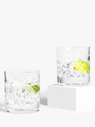 John Lewis & Partners Lucca Cut Crystal Glass Tumblers, 290ml, Set of 2, Clear