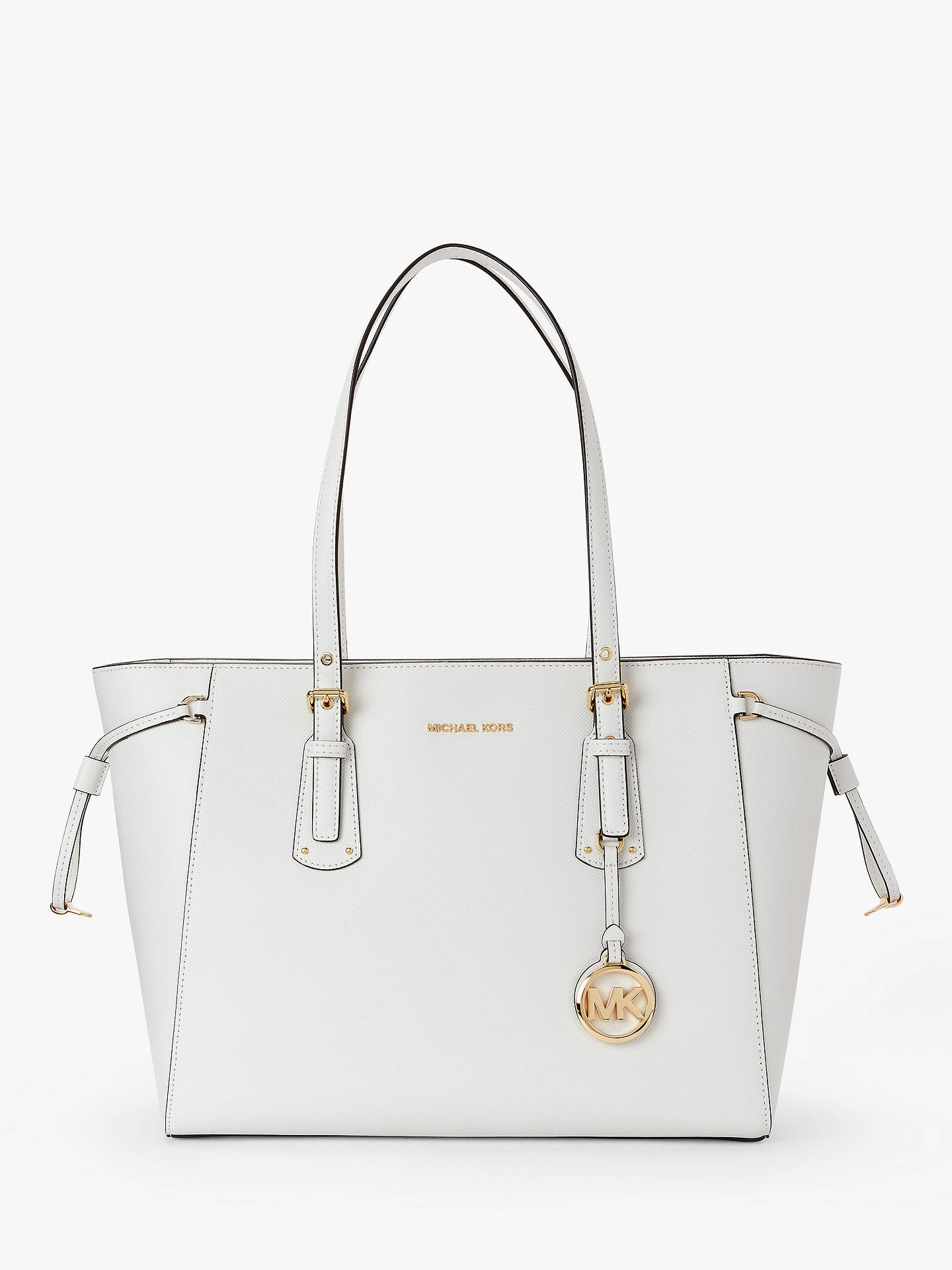 MICHAEL Michael Kors Voyager Leather Medium Tote Bag, Optic White