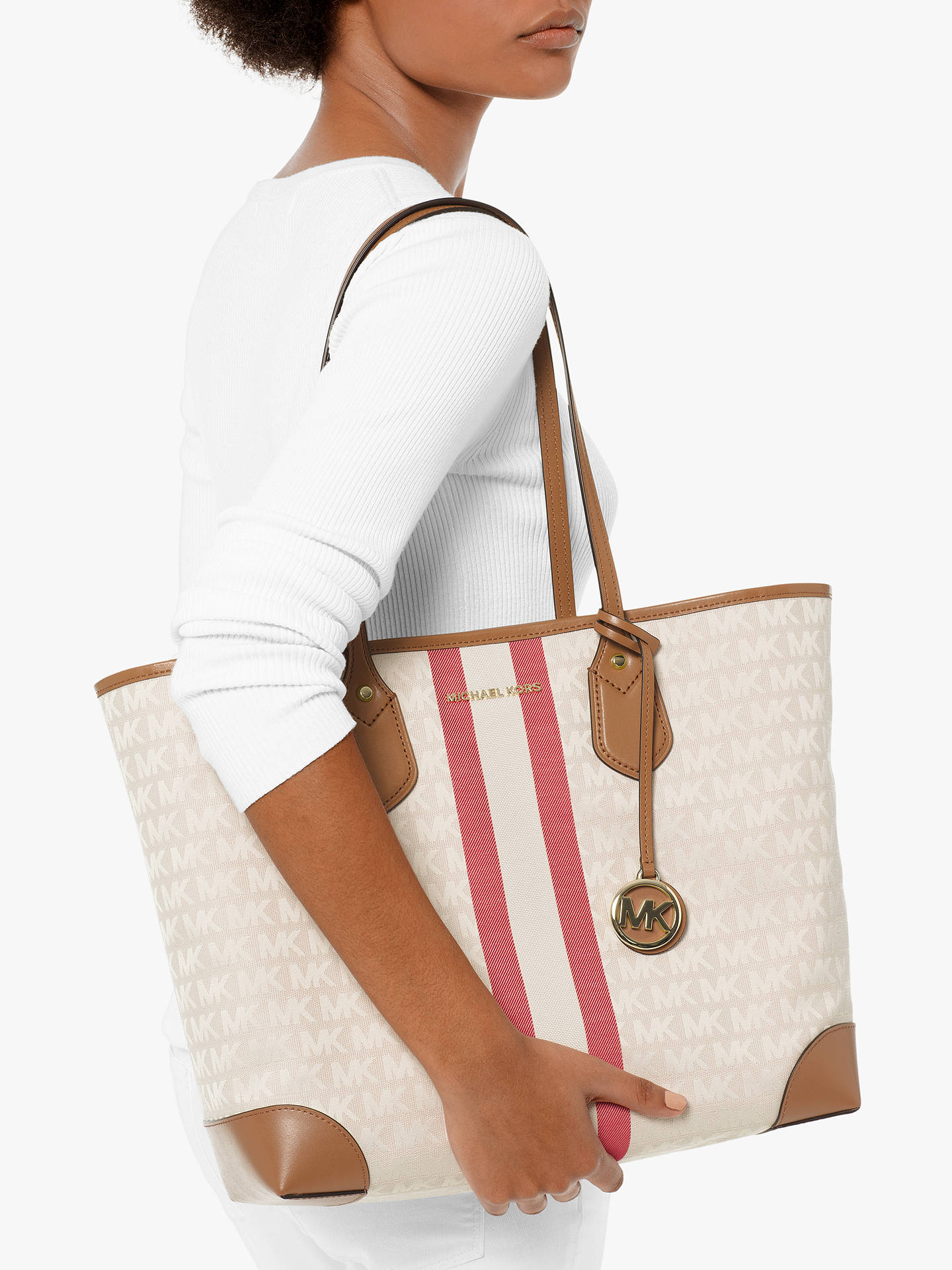 e5d351d36a46 ... Buy MICHAEL Michael Kors Eva Large Stripe Tote Bag, Multi Online at  johnlewis.com