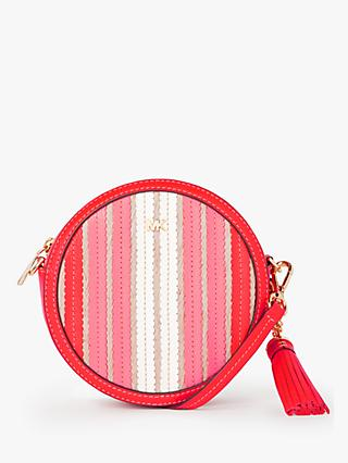 MICHAEL Michael Kors Canteen Leather Woven Cross Body Bag, Bright Ruby