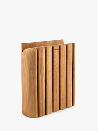 Robert Welch Signature Book Oak Wood Knife Block & 6 Kitchen Knives