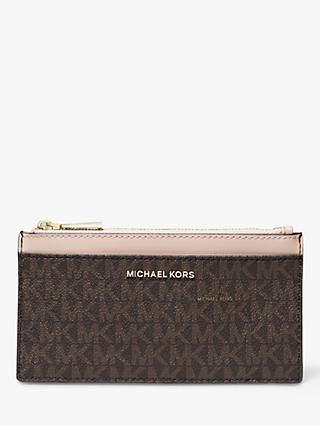 a4925a966 MICHAEL Michael Kors Money Pieces Slim Card Purse, Brown/Soft Pink