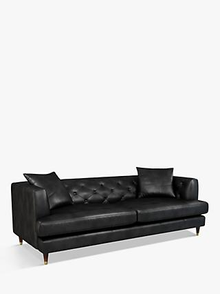 John Lewis & Partners Chester Grand 4 Seater Leather Sofa, Dark Leg