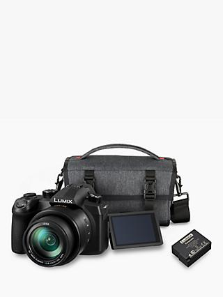 "Panasonic Lumix DC-FZ1000 II Bridge Camera, 4K Ultra HD, 20.1MP, 16x Optical Zoom, Wi-Fi, Bluetooth, OLED Viewfinder, 3"" Touch Screen with Shoulder Bag & Extra Battery Pack"