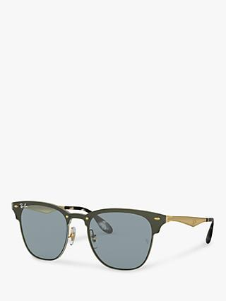 Ray-Ban RB3576N Unisex Blaze Clubmaster Square Sunglasses, Brushed Gold/Blue