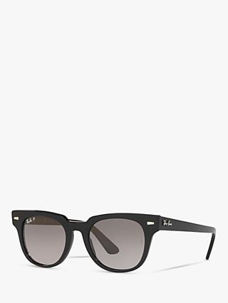 Ray-Ban RB2168 Unisex Polarised Square Sunglasses, Matte Black/Grey Gradient
