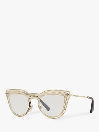 Valentino VA2018 Women's Cut Out Cat's Eye Sunglasses, Gold/Silver