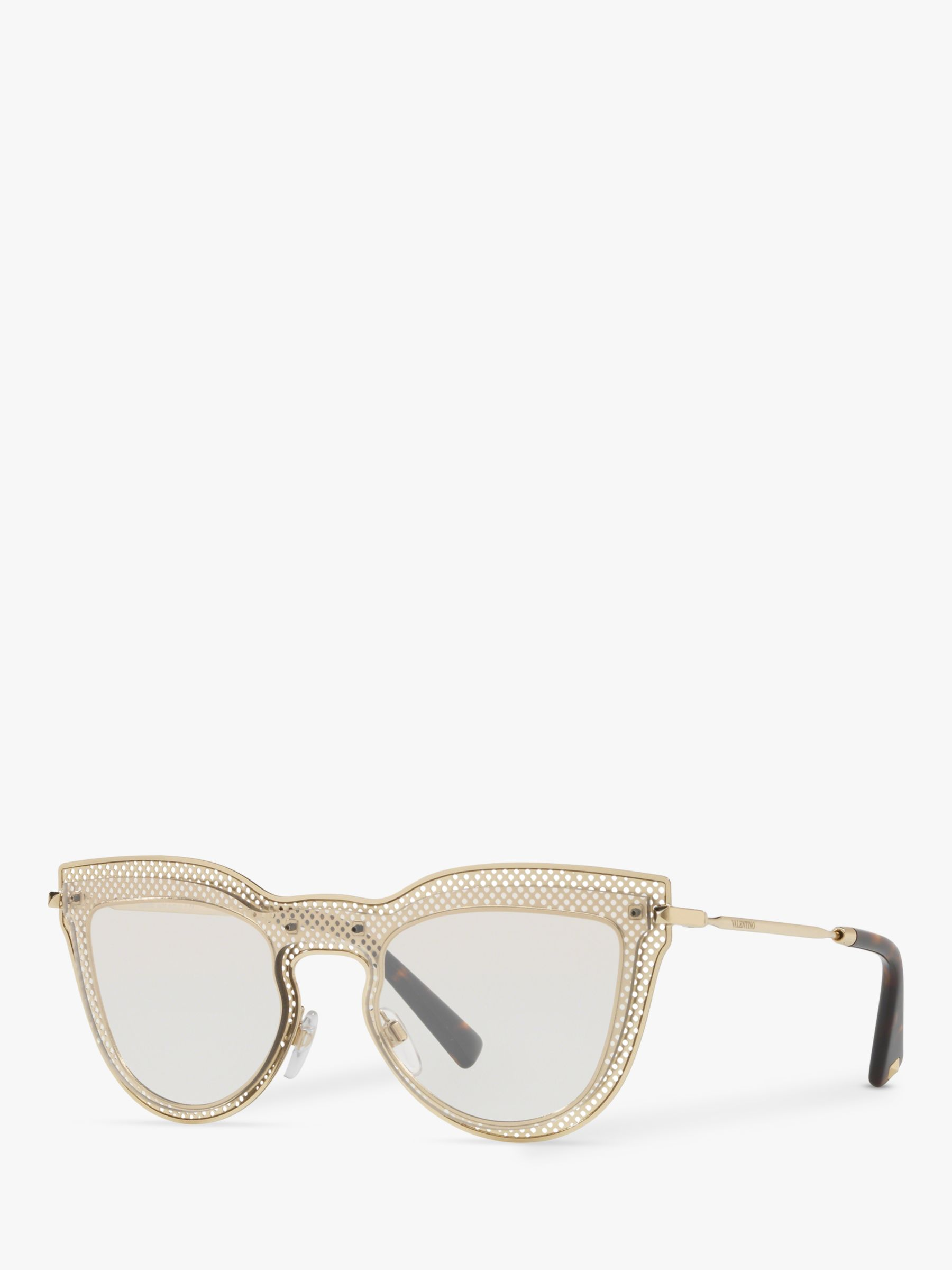 Valentino Valentino VA2018 Women's Cut Out Cat's Eye Sunglasses, Gold/Silver