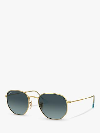Ray-Ban RB3548N Unisex Hexagonal Sunglasses, Gold/Blue Gradient
