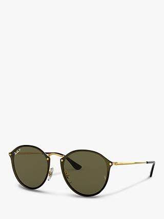 28d1a440f Ray-Ban RB3574N Unisex Polarised Round Sunglasses, Gold/Dark Green