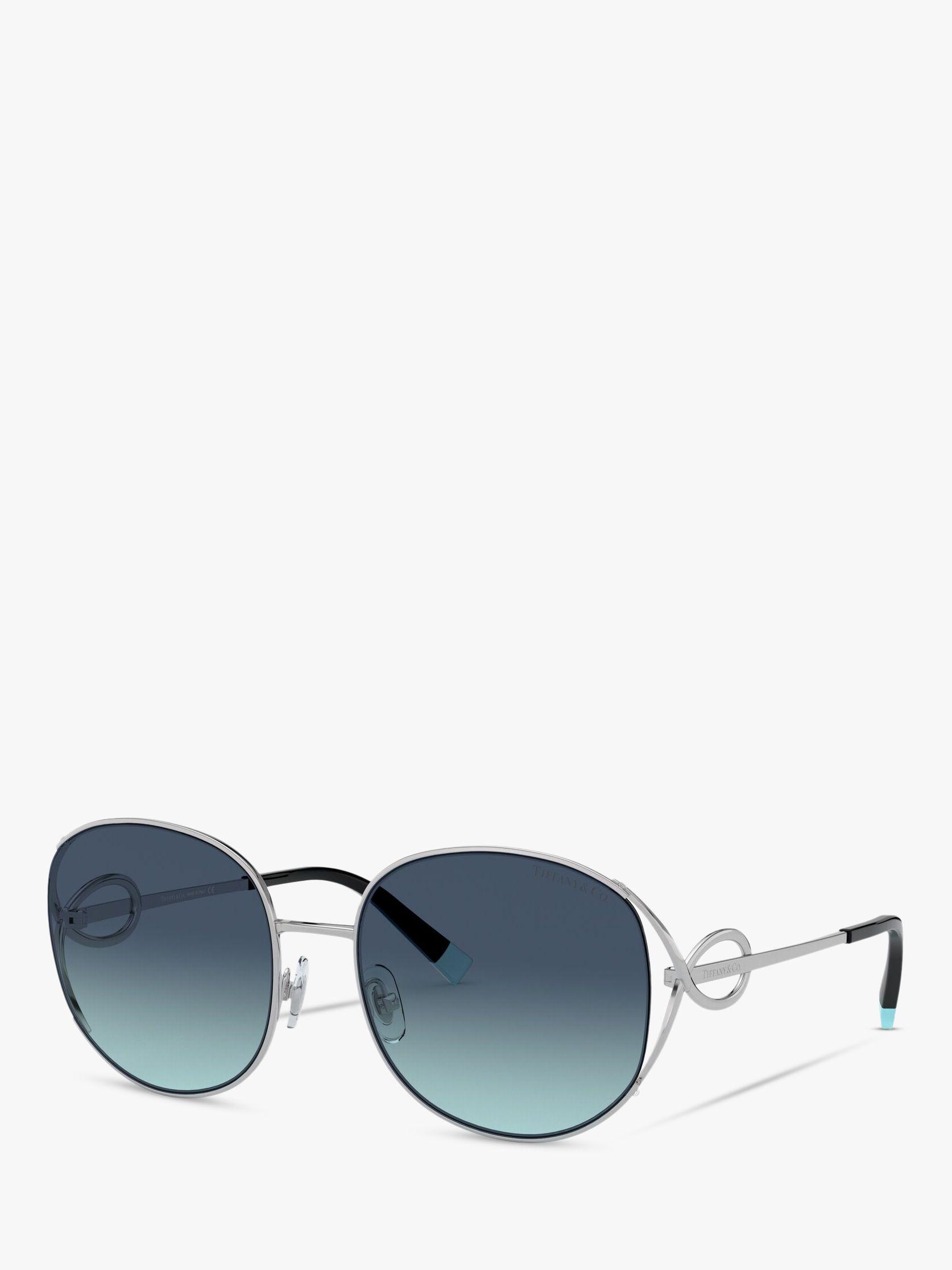 Tiffany & Co Tiffany & Co TF3065 Women's Oval Sunglasses, Silver/Blue Gradient