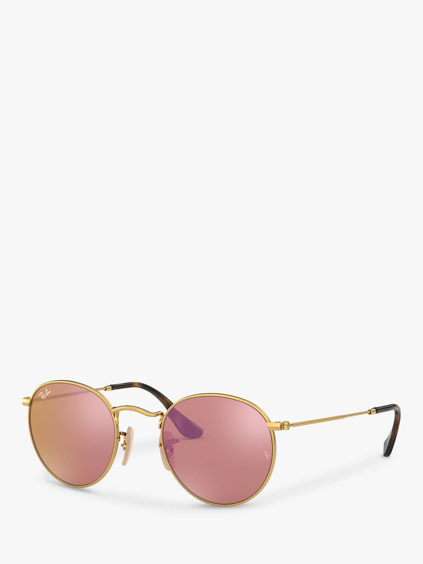 60da51aa693a Buy Ray-Ban RB3447N Men's Round Flash Sunglasses, Shiny Gold/Mirror Pink  Online ...