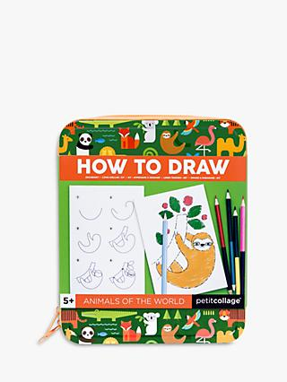 Petit Collage How to Draw Animals Of The World Activity Kit
