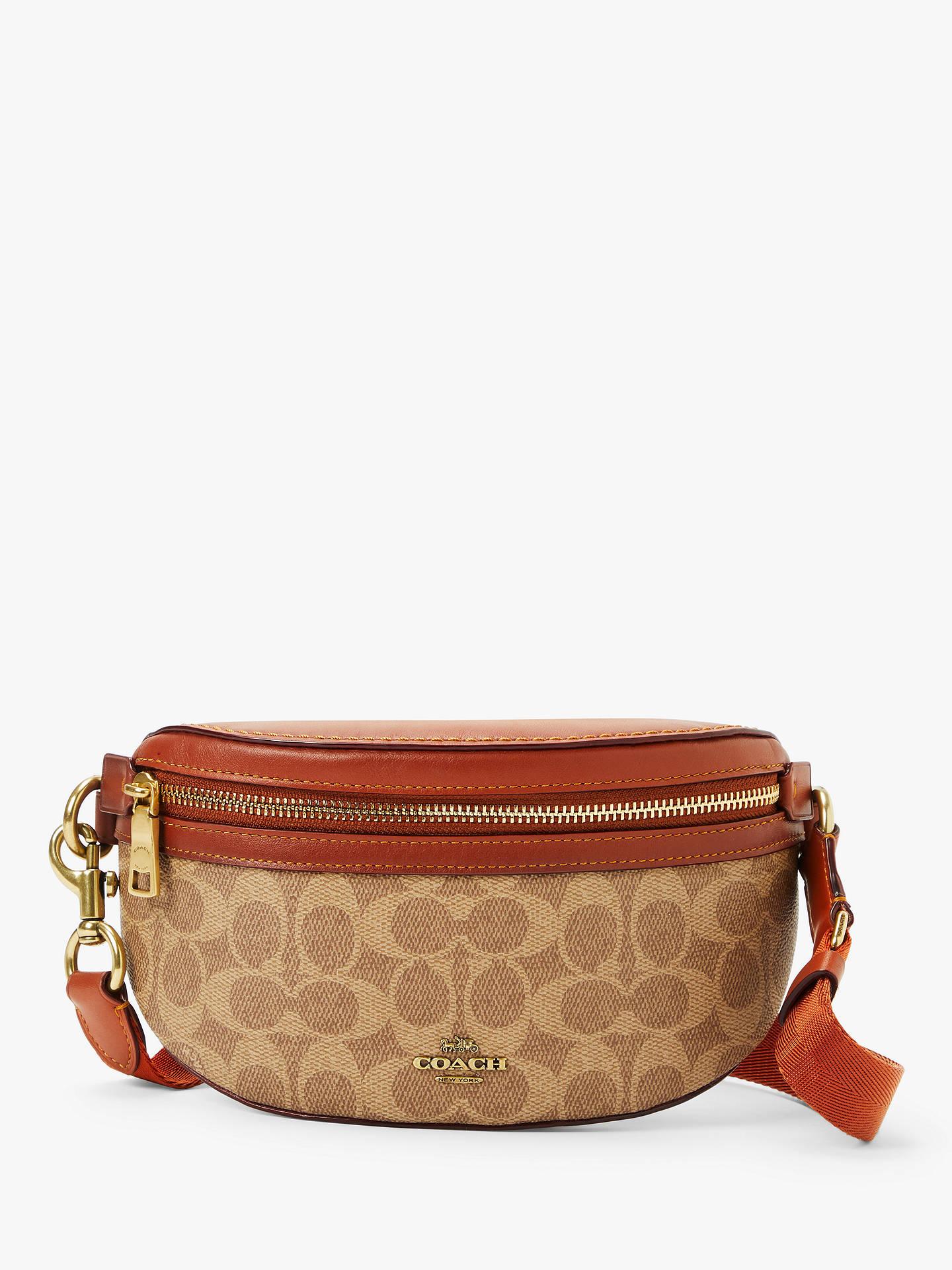 0dbd5e56 Coach Leather Signature Belt Bag, Tan/Rust