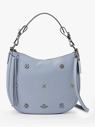 Coach Sutton Pebbled Leather Riveted Hobo Bag, Mist