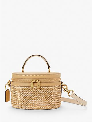 9af7101588ab Coach Trail Woven Straw Cross Body Bag