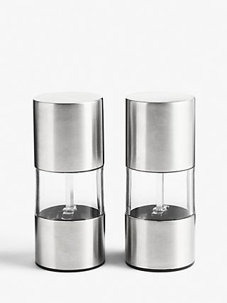 House by John Lewis Stainless Steel Salt and Pepper Mills, Set of 2, Silver