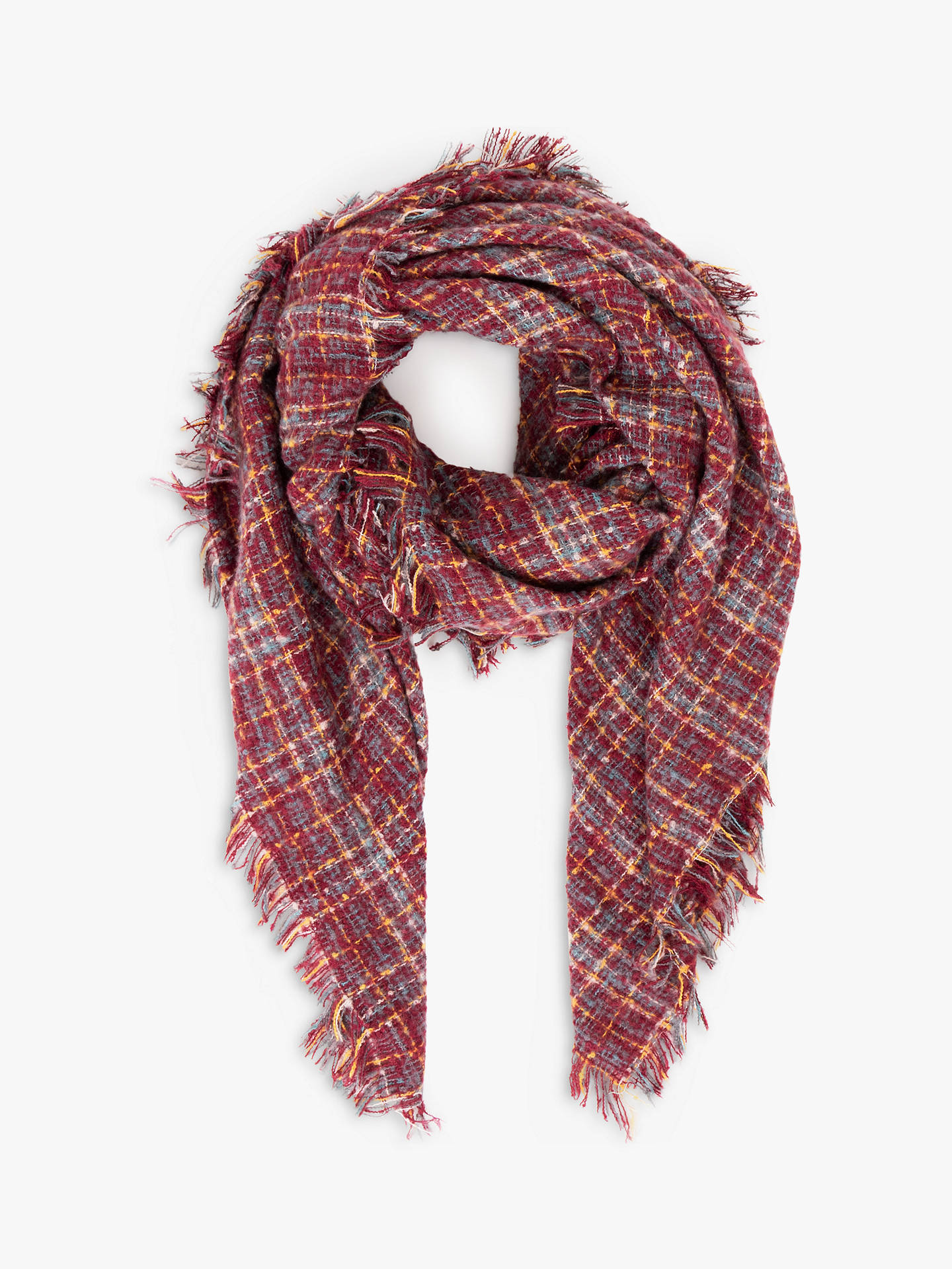 Powder Maya Check Scarf, Damson Mix